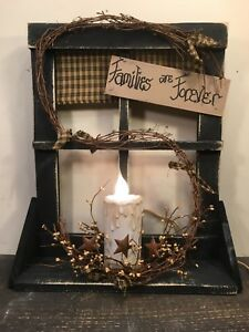 Country Primitive Window Electric Candle And Berries Farmhouse Rustic Decor