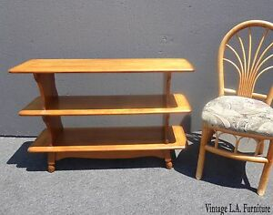 Vintage Mid Century Modern 3 Tier Maple Wood Bookcase French Country Shelves
