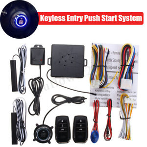 12pcs Smart Car Security Alarm Keyless Entry Push Start Button System Remote Kit