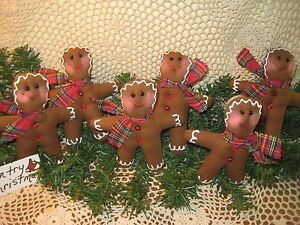 6 Country Christmas Gingerbread Tree Ornaments Bowl Fillers Handmade Home Decor