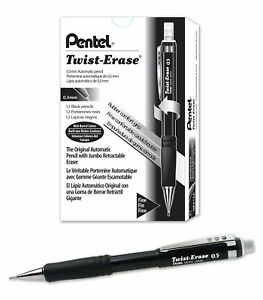 Pentel Twist erase Iii Mechanical Pencil0 5mm Black Barrel 12 Pack Qe515a
