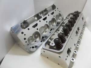 Alum Heads Sbc Chevy 200cc 64cc 2 02 1 60 Set Up For Hydraulic Flat Tapped Cam