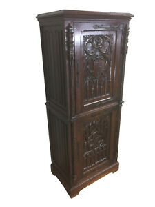 Terrific Antique French Gothic Cabinet Narrow Model 19th Century Oak
