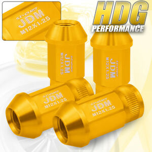 Jdm Sport Alloy Steel 4pc 12mmx1 25 Pitch Thread Gold Lug Nuts Universal Vip