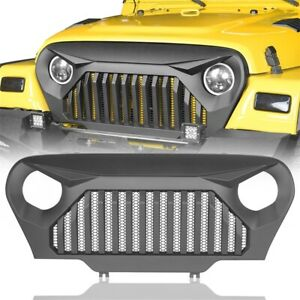 Matte Black Angry Bird Grille Cover Front Grill Guardfits Jeep Wrangler Tj 97 06