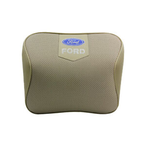 Beige Real Leather Car Seat Memory Foam Neck Rest Cushion Pillow Fit For Ford