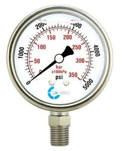 2 1 2 Pressure Gauge Stainless Steel Case Liquid Filled Lower Mnt 5000 Psi