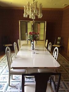 Vtg Italian Dining Room Set 9 Foot Table 2 Armchairs 6 Side Chairs Hutch Breaker