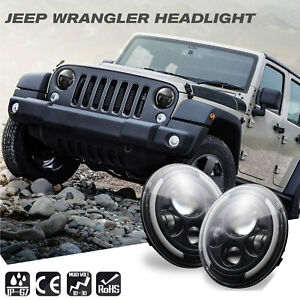 7 Round Led Headlight Halo Angle Eyes Drl Signal New For Jeep Wrangler Jk Lj Tj