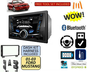 01 02 03 04 Ford Mustang Bluetooth Cd Usb Aux Double Din Radio Stereo Dash Kit