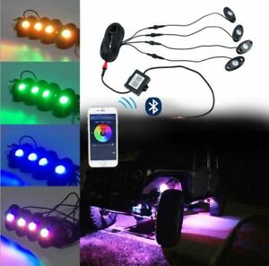 4pcs Pod Rgb Led Rock Lights Wireless Bluetooth Music Rgb Color Accent Under Car