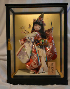 Ichimatsu Kimono Japanese Rare Vintage Gofun Doll With Drum And Signed By Maker