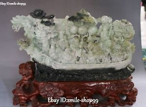 14 Unique Natural Dushan Jade Dragon Lotus Eight God Boat Tongzi Peach Statue