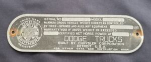 1942 1947 Dodge Brothers Pickup Truck Vin Tag Serial No
