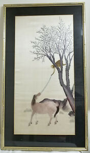 Antique Fine Chinese Japanese Embroidered Embroidery Panel Monkey Horse