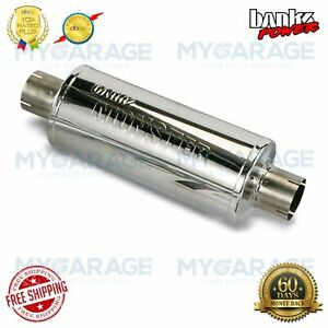Banks Inlet Outlet Power Monster Muffler 4 X 4 Stainless Steel Large 53800