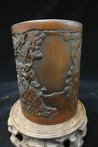 Rare Old Chinese Hand Carving Bamboo Pen Holder Brush Pot Marked Zhuwenyou