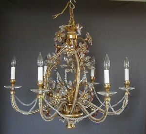 Fabulous Large Gilt Metal Crystal Beaded Chandelier Manner Of Maison Bagues