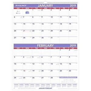 At a glance 2019 Wall Calendar 22 X 29 Xlarge 2 month Display White Pm928