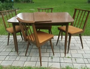 Mid Century Dining Table And Chair Set Danish Parragon Furn Usa Vintage