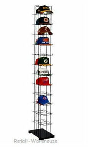 72 Hats Cap Hat Rack 12 tier Baseball Tower Black Floor Standing Display 78 H