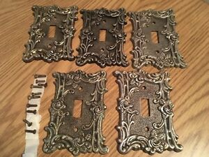 5 Vintage American Tack Hdwe Brass Covers 60t Switch