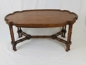 Vintage Baker Faux Bamboo Walnut Coffee Table Chinoiserie Hollywood Regency