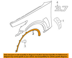 Infiniti Nissan Oem Front Fender wheel Well Flare Arch Molding Right 638601cb0b