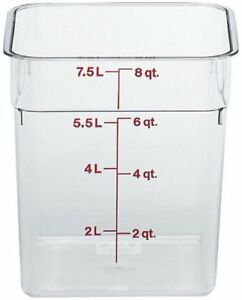 Cambro 8sfscw Camsquare Food Container 8 Qt 8 3 8x8 3 8x9 1 8 Clear 6 Count