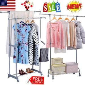 Rolling Clothes Garment Rack Dual single Rail Organizer Closet Storage Shoe Rack