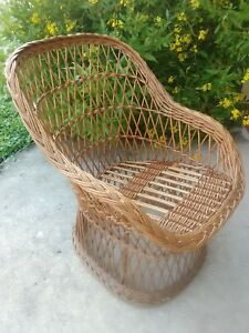 Vintage Wicker Child S Chair Mid Century
