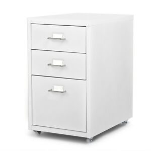 Rolling Metal File Cabinet Mobile Storage Filing Cabinet 3 Drawers White I5e3