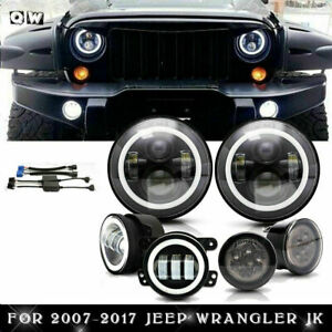 7inch Led Halo Headlights Fog Turn Tail Light Combo Kit Fits Jeep Wrangler Jk