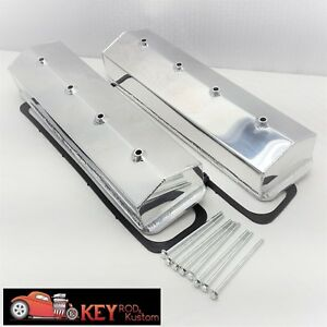 Small Block Chevy Fabricated Center Bolt Polished Aluminum Valve Covers 350 305