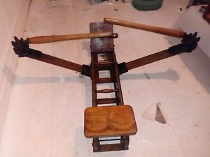 Antique Wood And Iron Rowing Machine Vintage Excersise Equipment Nostalgia