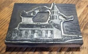 Oregon Schoolhouse Historic Printing Block Letterpress Plate 1930 Oregon