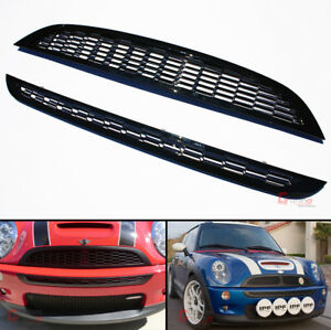 For 01 06 Mini Cooper R50 R52 R53 Front Upper Lower Glossy Blk Honeycomb Grille