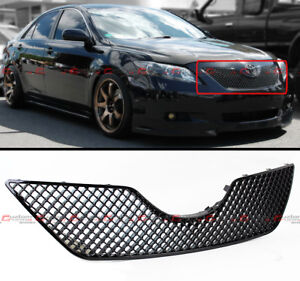 For 2007 09 Toyota Camry Black Sport Jdm 3d Diamond Front Hood Mesh Grill Grille