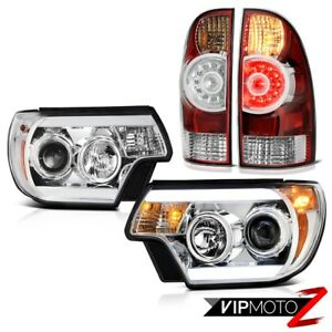 2012 2015 Toyota Tacoma 4wd Euro Clear Projector Headlights Rosso Red Tail Lamps