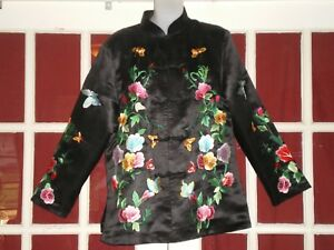 Superb Old Chinese Black 100 Silk Jacket Robe Embroidered W Butterflies Peonies