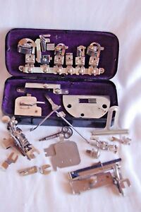 Vintage Rotary Treadle Sewing Machine Parts In Metal Container