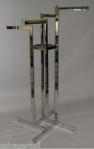 Clothing Display Rack High Capacity 16 Straight Tube Arms 4 way Chrome New
