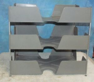 Vtg Industrial Unicor Desk File Tray Stack Gray Metal 3 Tier Steampunk J093