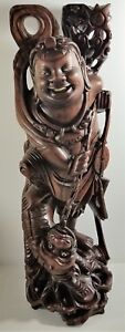 Hand Carved Vintage Suar Wood Large 22 Tall Warrior Or God W Foo Dog On A Chain