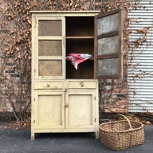 Antique Pie Safe Cupboard Primitive Farmhouse Cabinet Large Chippy Hutch