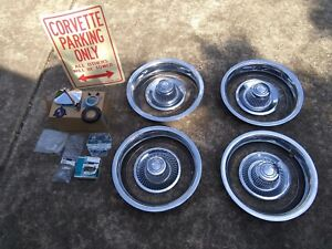 4 Original Corvette Gm Rally Wheel Disc Brake Center Hub Caps 15 Trim Rings