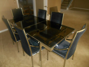 Mid Century Modern Chrome Smoke Glass Dining Table 6 Chairs Milo Baughman