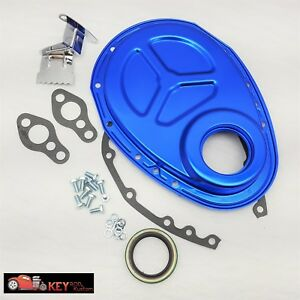 Small Block Chevy Blue Timing Cover Kit Gaskets Bolts Tab Sbc 350 305 400 Roller