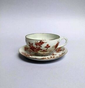Antique Japanese Porcelain Ware Flower Insect Hand Painted Tea Cup Saucer