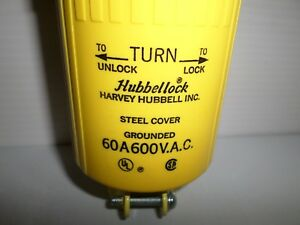 new In Box Hubbell Hbl26419 hubbellock Plug 60 amp 60a 600vac 3p 4w 26419